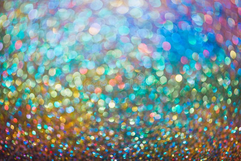 glitter gold bokeh Colorfull Blurred abstract background for birthday, anniversary, wedding, new year eve or Christmas royalty free stock images