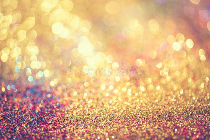 glitter gold bokeh Colorfull Blurred abstract background for birthday, anniversary, wedding, new year eve or Christmas stock image