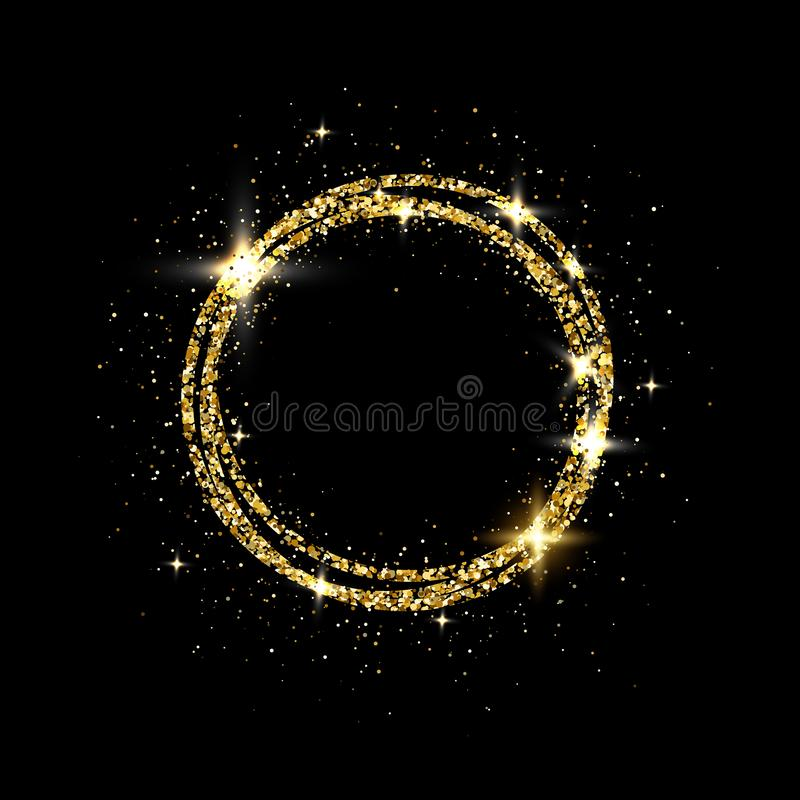 Glitter gold circle frame with space for text. Sparkling golden frame on black background. Bright glittering star dust. Festive border. Vector illustration vector illustration