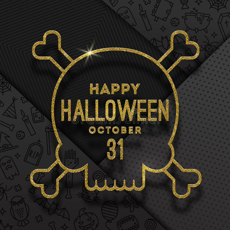 Glitter gold contour of a skull with Halloween greeting on a black background with linear halloween signs and symbols. vector illustration