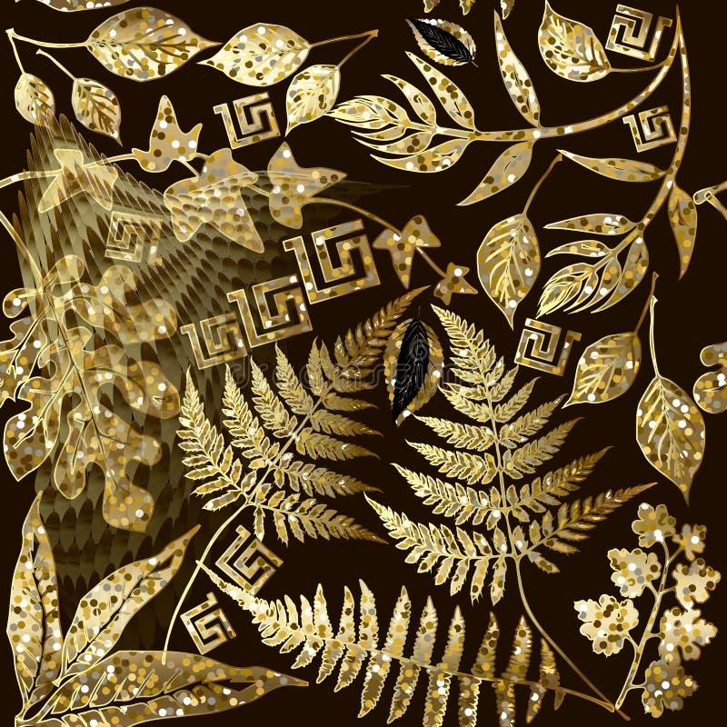 Glitter gold floral greek vector seamless pattern. Ornamental shiny geometric background. Tropical exotic glittery flowers, plants. Fern leaves. Greek key royalty free illustration