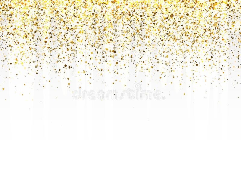 Glitter gold frame with space for text. Luxury glitter decoration. Golden sparkles and dust on transparent background stock photo