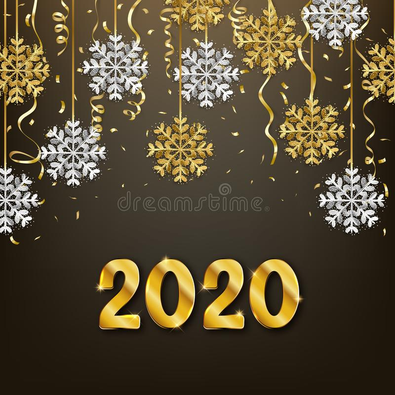 Glitter gold and silver snowflakes decoration, Happy New Year 2020 background, vector illustration. Design vector illustration