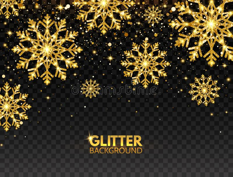 Glitter gold snowflakes with falling particles on transparent background. Shining golden snowflakes with star dust vector illustration