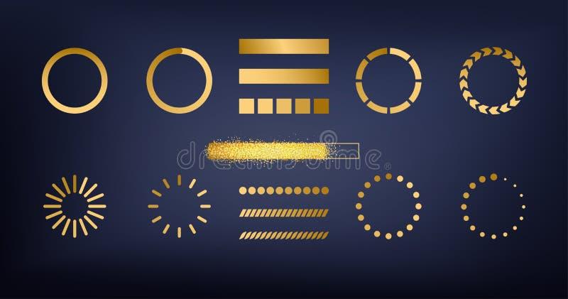 Glitter gold sparkles bar website buffer loader or preloader icons set illustration. New Year vector download or upload status stock illustration