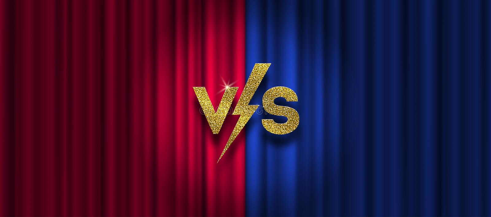 Glitter gold versus logo on red and blue curtain background. VS logo for games, battle, performance, show, vector illustration