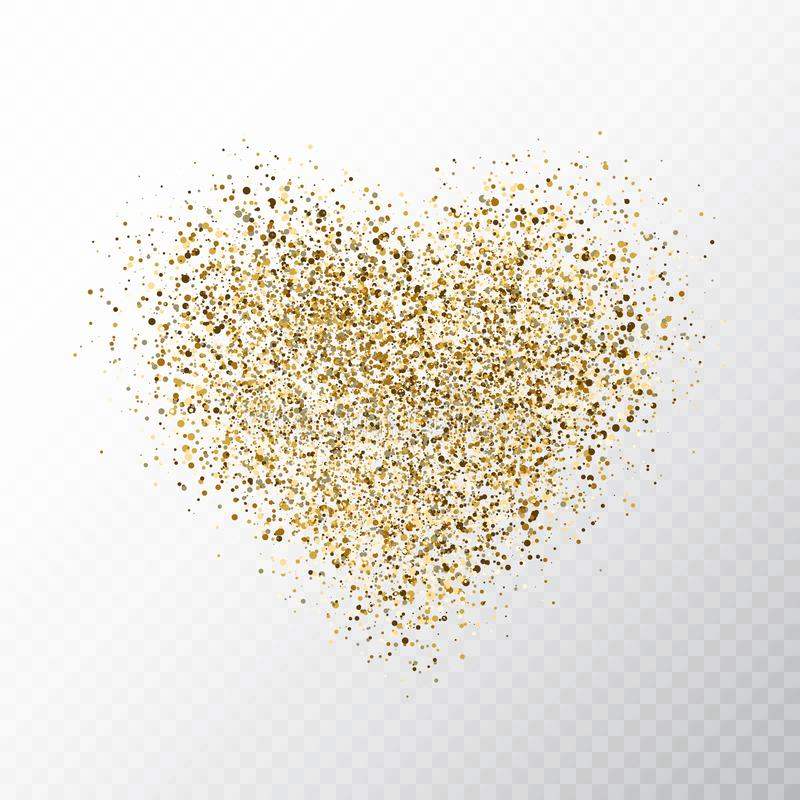 Glitter golden hearts isolated on transparent background. Gold glowing heart banner with star dust. Magic particles. Bright vector illustration