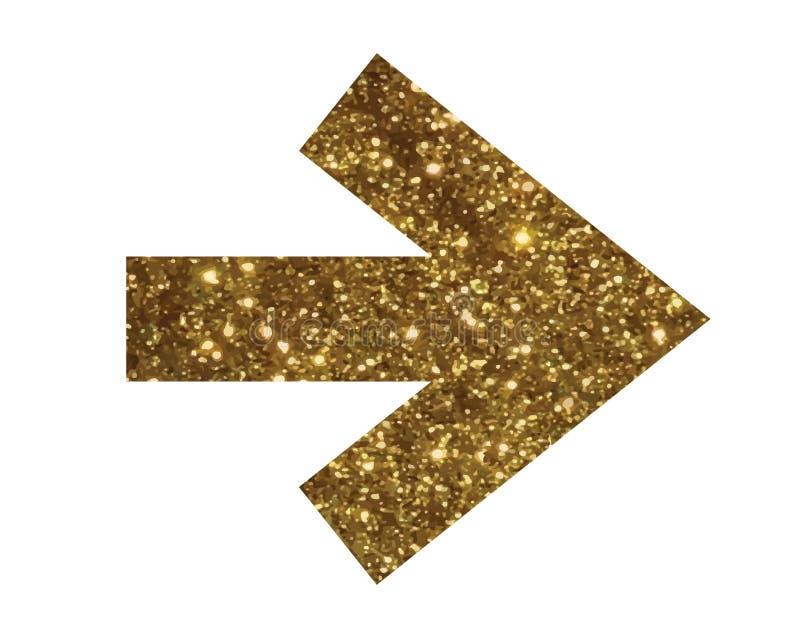 Glitter golden isolated arrow flat icon stock illustration