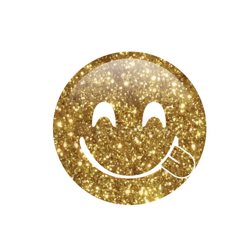 Glitter golden smiley and tasting food face with tongue out icon. The isolated Glitter golden smiley and tasting food face with tongue out icon vector illustration