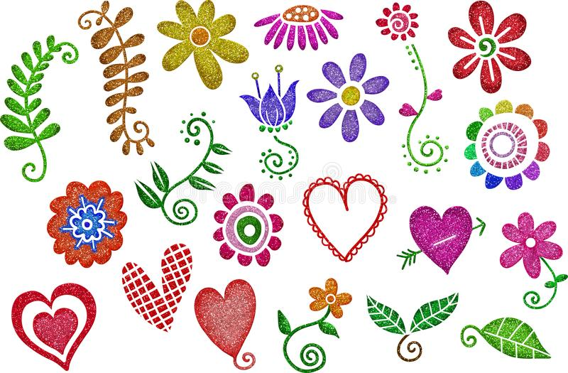 Glitter Hearts & Flowers royalty free illustration
