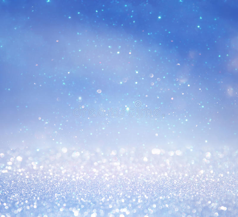 Free Glitter Lights Background. Silver, Light Blue And White Royalty Free Stock Image - 81460106