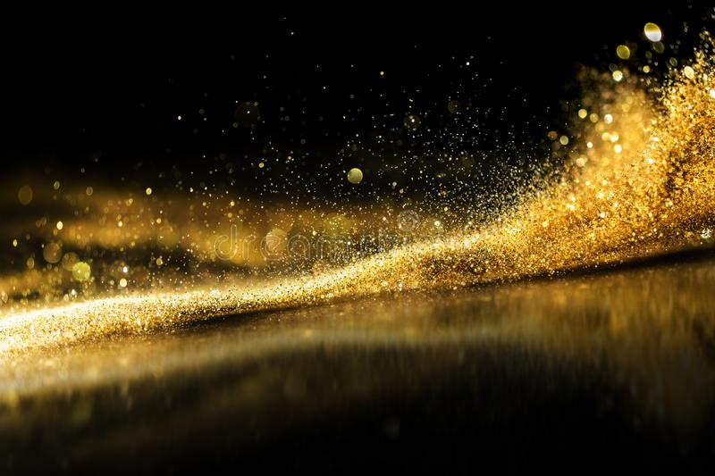 Glitter lights grunge background, gold glitter defocused abstract Twinkly Lights Background. stock images