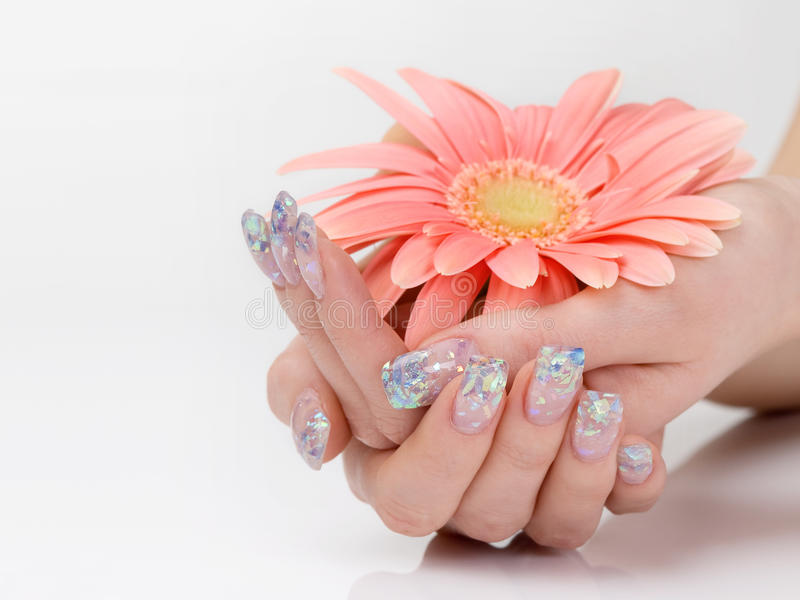 Download Glitter Manicure And Pink Flower Stock Image - Image: 17679509