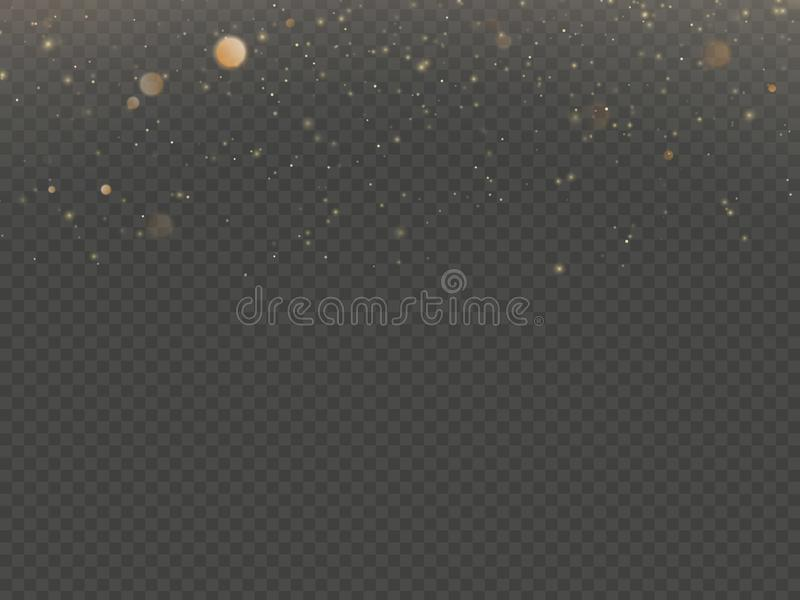 Glitter particles overlay effect. Gold glittering star dust sparkling particles on transparent background. EPS 10 vector illustration