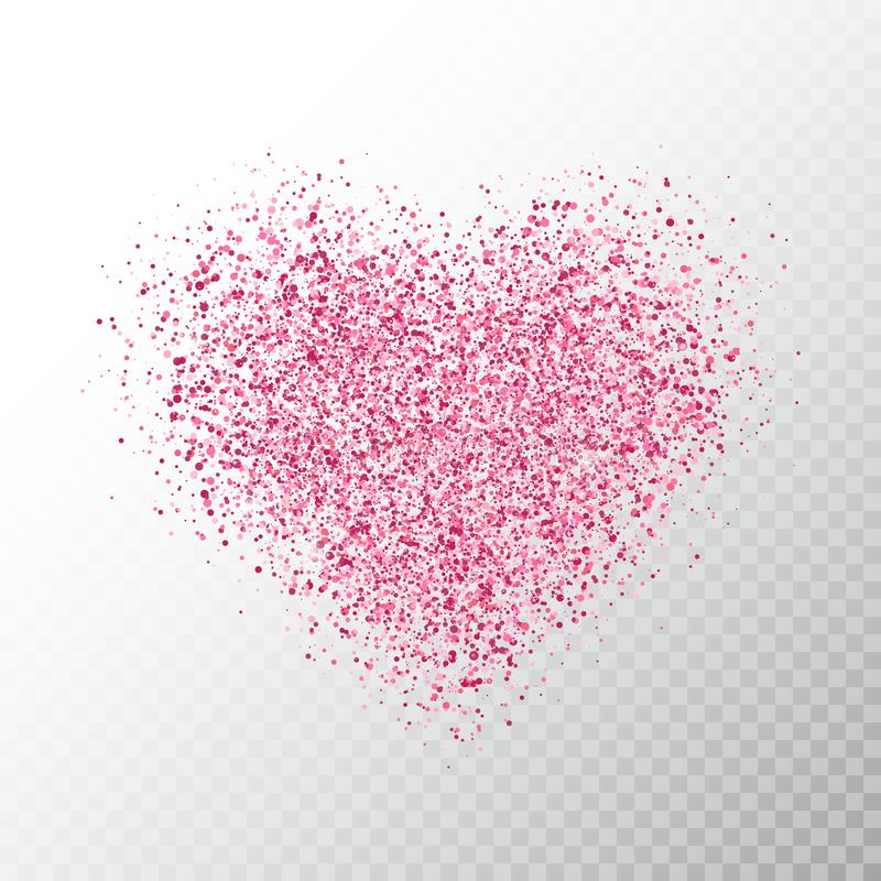 Glitter pink heart isolated on transparent background. Glowing heart banner with star dust. Magic particles. Bright sparkles heart stock illustration