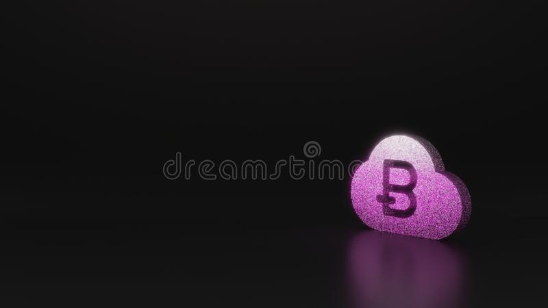 Science glitter symbol of bitcoin icon 3D rendering. Glitter pink silver symbol of bitcoin in cloud 3D rendering on black background with blurred reflection with stock illustration