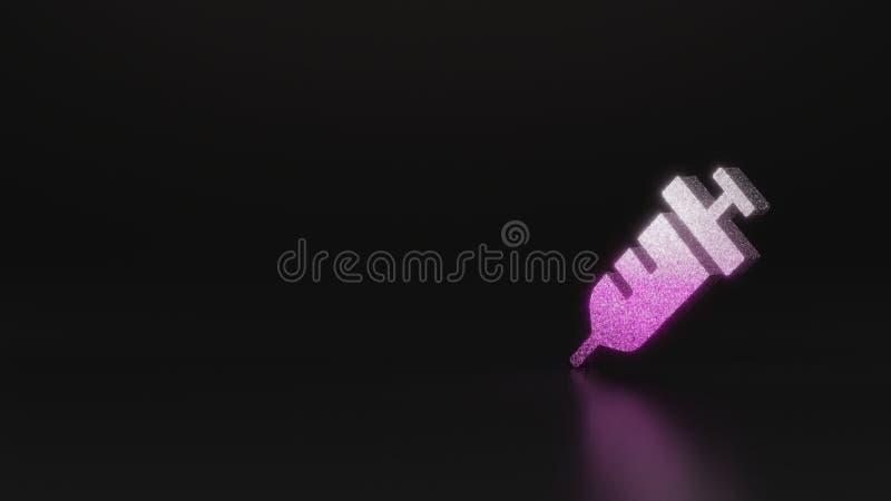 science glitter symbol of syringe icon 3D rendering vector illustration