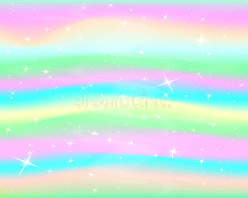 Glitter rainbow background. The sky in pastel color. Bright mermaid pattern.Vector. royalty free illustration