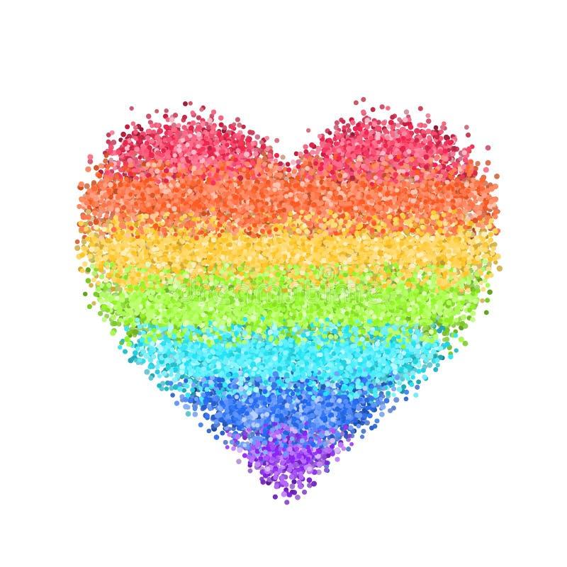 Glitter rainbow heart stock illustration