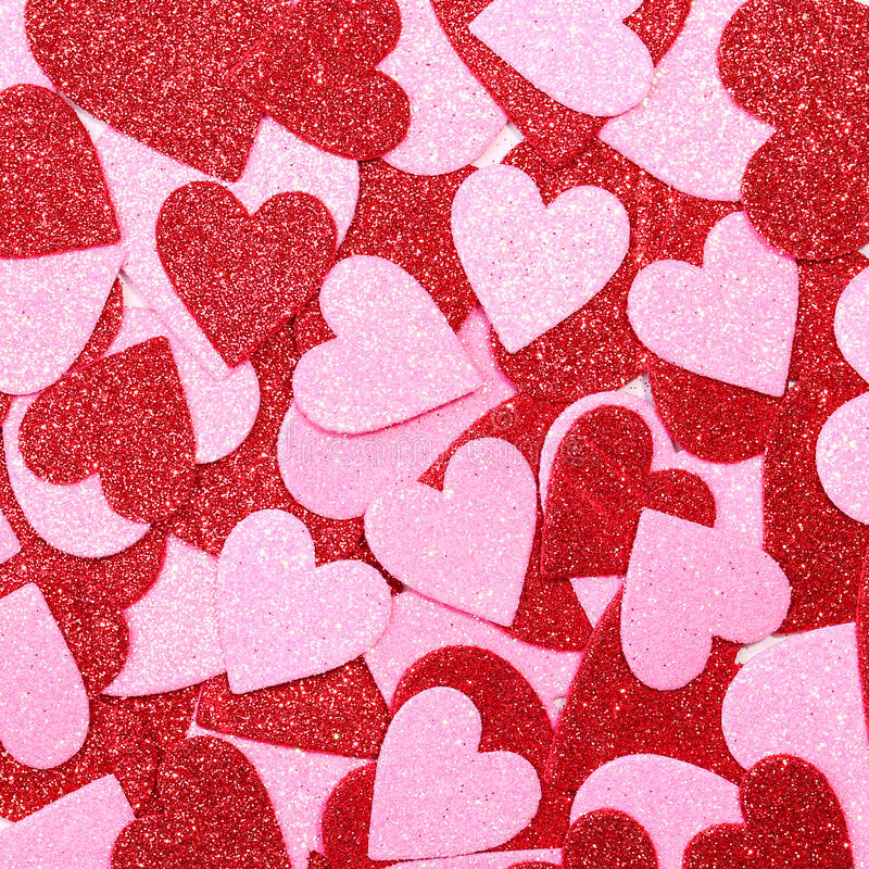 Glitter Red and Pink Hearts. Background. Valentines Day royalty free stock photography