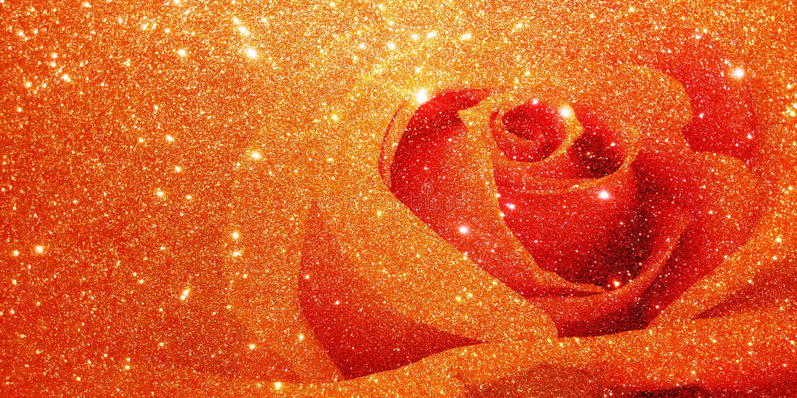 Glitter with rose background royalty free stock image