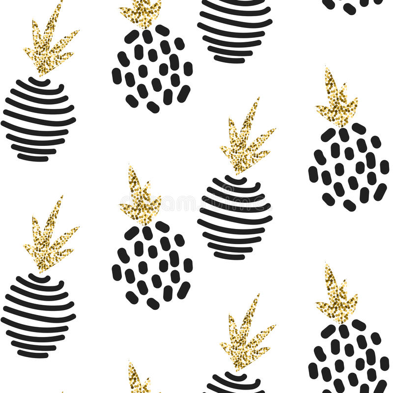 Glitter scandinavian ornament. Vector gold seamless ornament collection. royalty free illustration