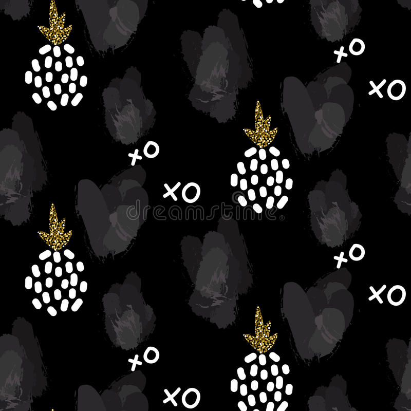 Glitter scandinavian xoxo black ornament. Vector gold seamless ornament collection. royalty free illustration