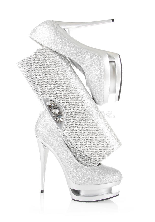Download Glitter Silver Shoes And Clutch Bag Stock Photo - Image: 23827920