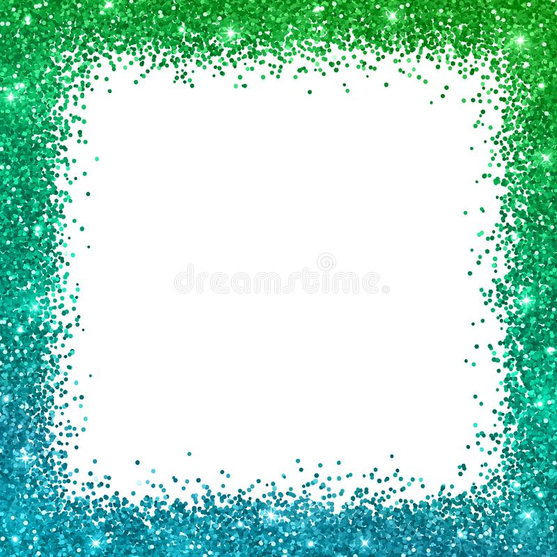 Glitter square border frame with blue green color effect. Vector. Glitter square border frame with blue green color effect, on white background. Vector royalty free illustration