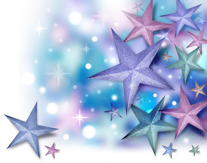 Glitter Star Background with Twinkles. A purple, blue and pink glitter star background with glowing twinkles. There is a fade to white on the left and bottom royalty free stock images