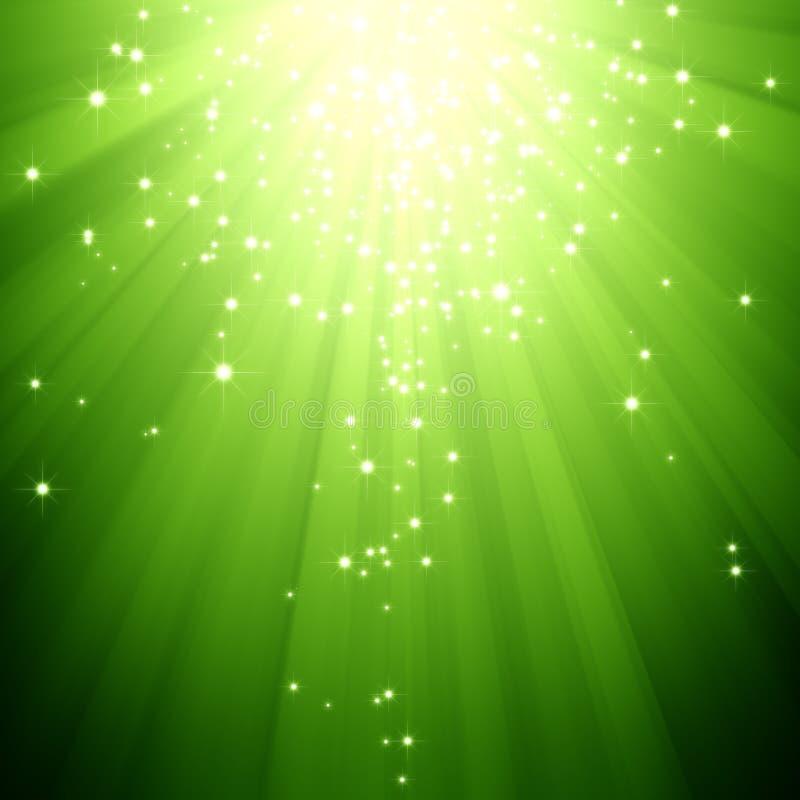 Glitter stars descending on green light burst. An abstract sparkling stars descending on green light burst background stock illustration