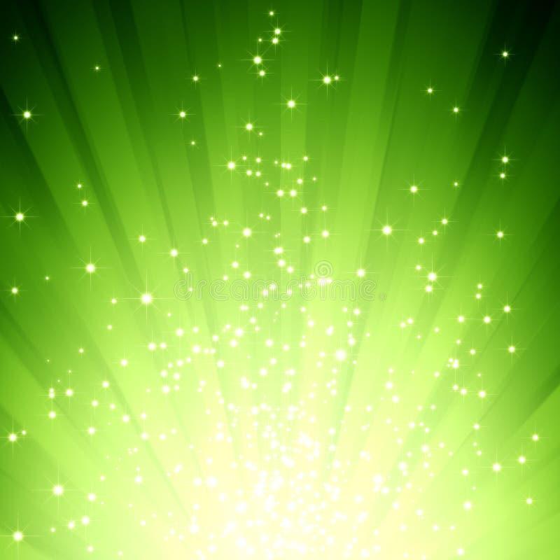 Glitter stars on green light burst stock illustration