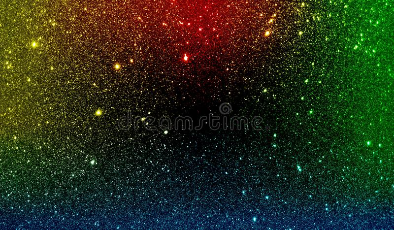 Glitter textured red yellow green blue and black shaded background wallpaper. royalty free stock photo
