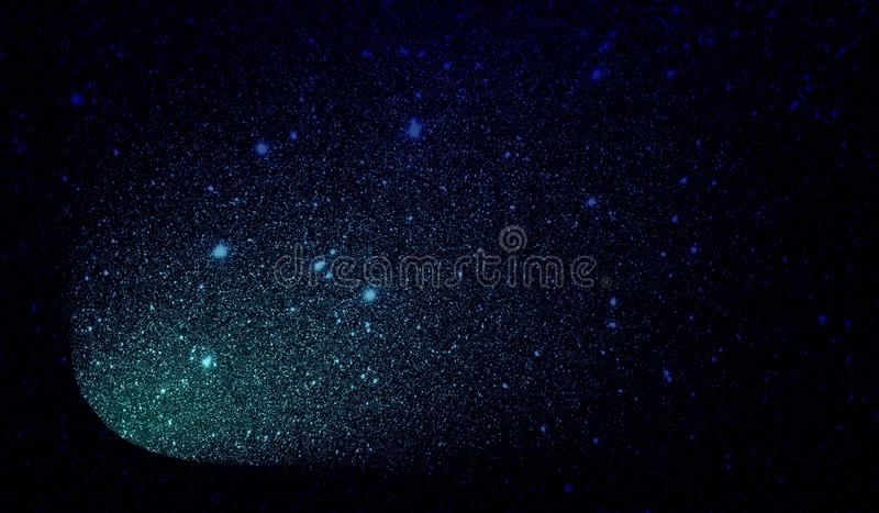 Glitter textured sky blue and black shaded background wallpaper. stock image