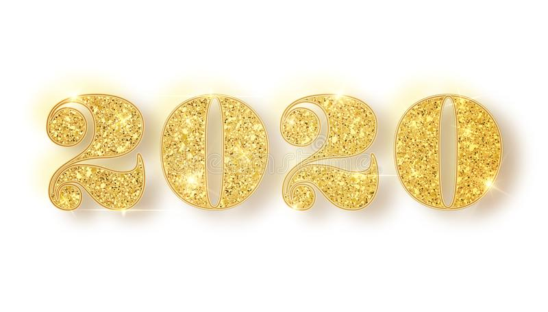 2020 glitter typography design. Gold sparkling Numbers Design of greeting card of Happy new year design. Gold Shining vector illustration