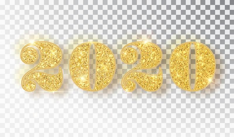 2020 glitter typography design template. Gold sparkling Numbers Design of greeting card of Happy new year design. Gold royalty free illustration