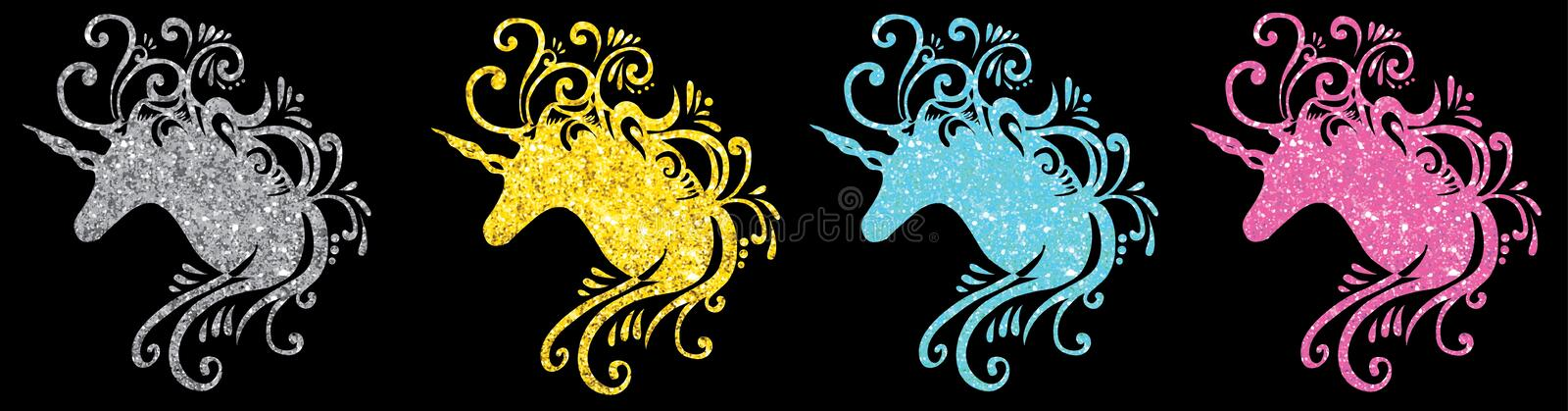 Glitter unicorn head silhouette set unicorn vector pictures eps unicorn jpg pink unicorn clip art cute unicorn einhorn pegasus 2d vector illustration