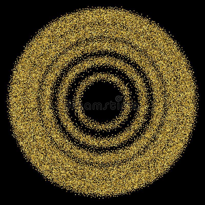 Glitter verde Fundo da poeira de ouro no branco Sparkles do ouro Textura do vetor ilustração stock