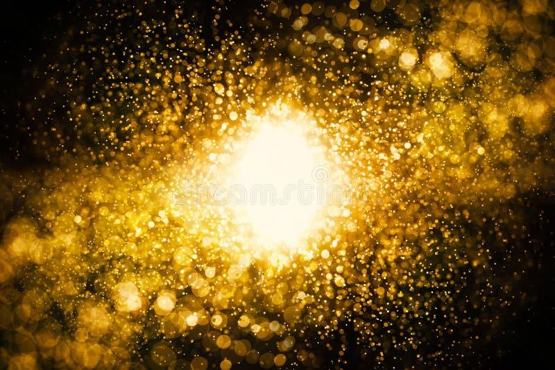 glitter vintage lights background. dark gold and black. defocused royalty free stock photo