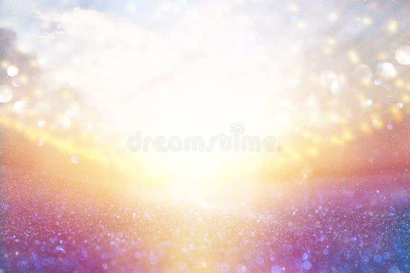 glitter vintage lights background. silver, purple and light gold de-focused. stock illustration