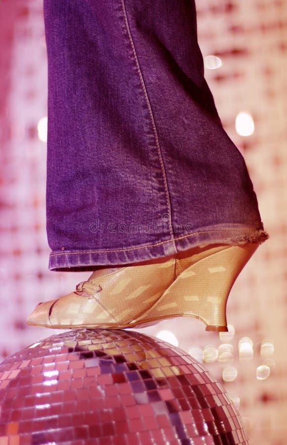 Glitterball en schoen royalty-vrije stock foto