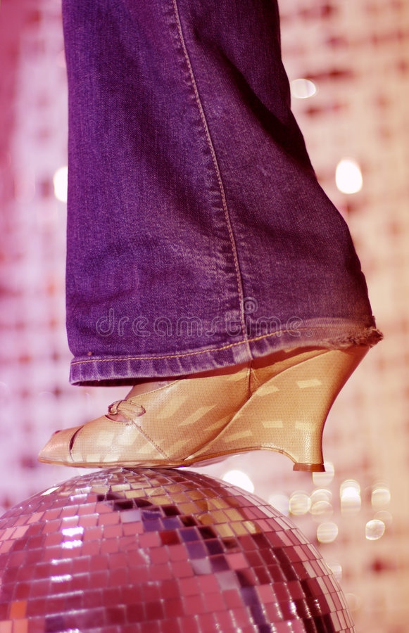 Glitterball and shoe royalty free stock photo