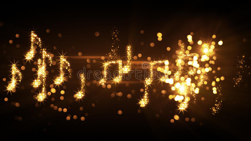 Glittering music notes and fireworks. Computer generated abstract illustration stock illustration