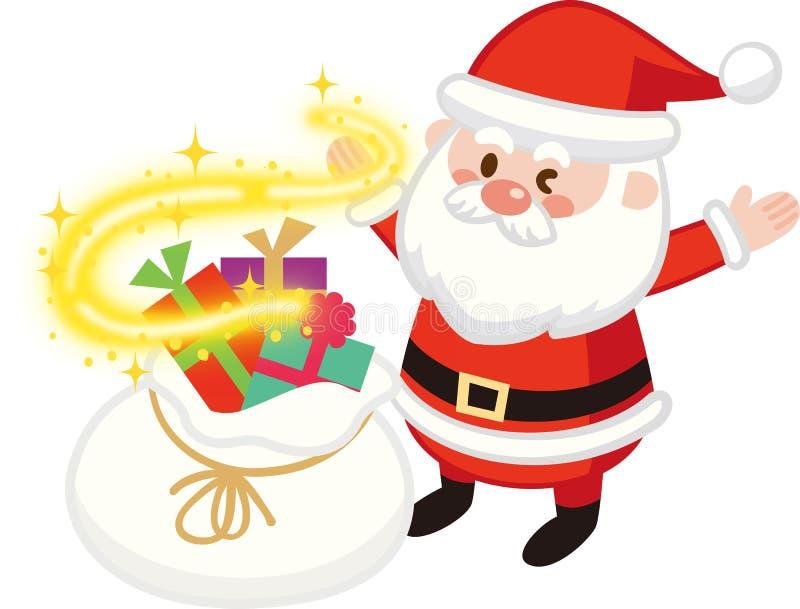 Glittering Santa Back and Winking Santa Claus.Christmas gift.Flat design,Vector illustration,Cute Cartoon character royalty free illustration