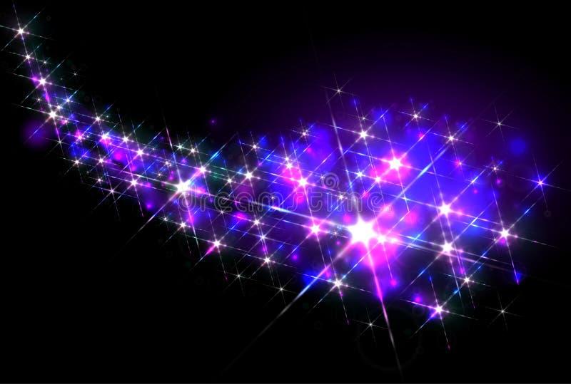 Glittering stars trail stock illustration