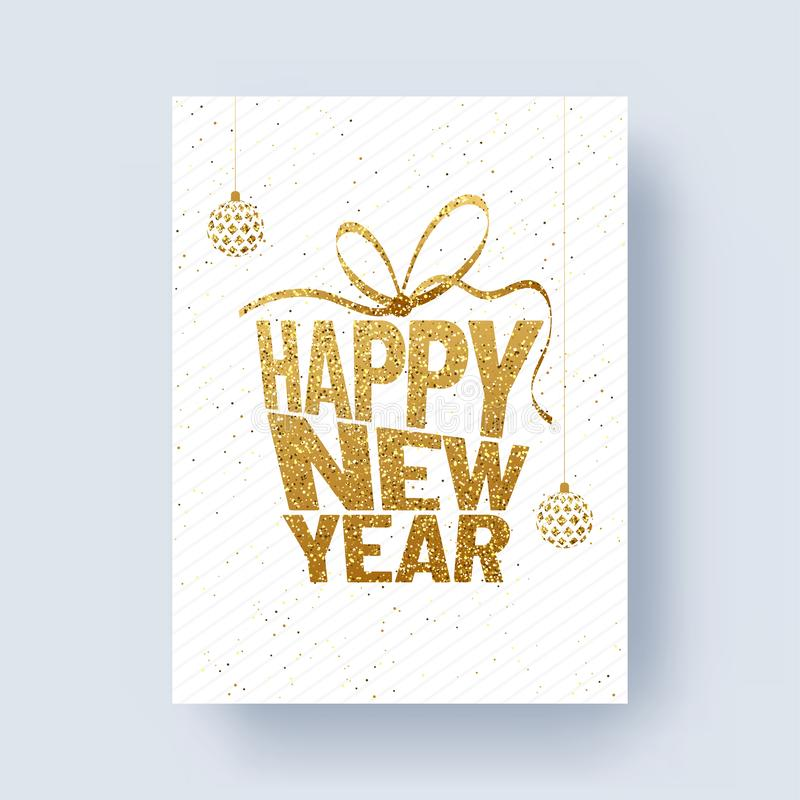 Glittering text Happy New Year with baubles on white background royalty free illustration