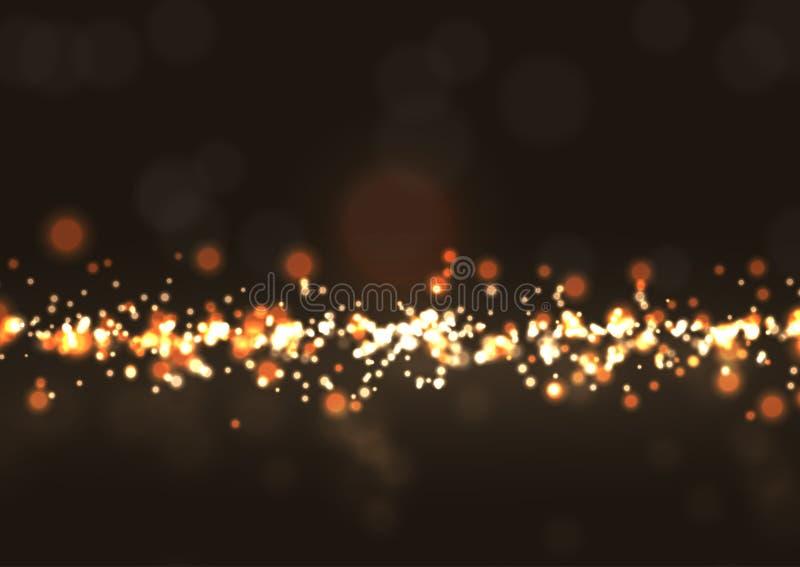 Glittery bokeh lights. Festive background with glittery gold bokeh lights vector illustration