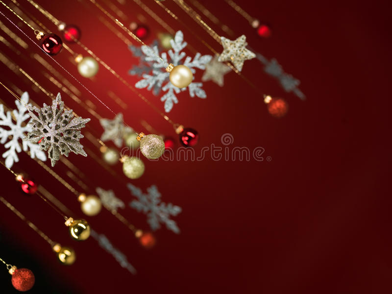 Glittery christmas decorations stock images