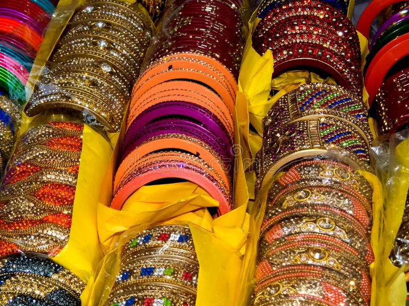 Glittery and Colorful Bangles of Lac stock images