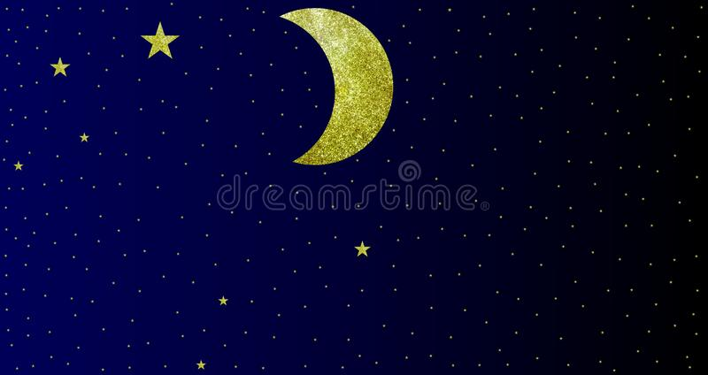 Glittery effects Moon Stars night sky view with background. Many uses for advertising, book page, paintings, printing, mobile wallpaper, mobile backgrounds vector illustration